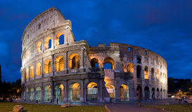 Colosseum at dusk in Rome, Italy. A high resolution, panoramic, perspective corrected image of the Colosseum at dusk in Rome, Italy stock image