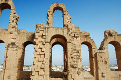 The Colosseum el Djem. Africa, Tunis, el Djem - The Colosseum, fragment Stock Photos
