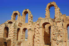 The Colosseum el Djem. Africa, Tunis, el Djem - the Colosseum, fragment Stock Photography