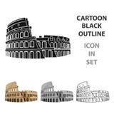 Colosseum en el icono de Italia en estilo de la historieta aislado en el fondo blanco Ejemplo del vector de la acción del símbolo Imágenes de archivo libres de regalías