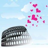 Colosseum et le coeur aiment Rome, Italie Photo libre de droits