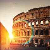 Colosseum in the evening in Rome, Italy Stock Images