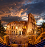Colosseum during evening time, Rome, Italy. Famous Colosseum during evening time, Rome, Italy Stock Image