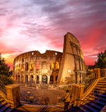 Colosseum during evening time in Rome, Italy. Famous Colosseum during evening time in Rome, Italy Royalty Free Stock Photography