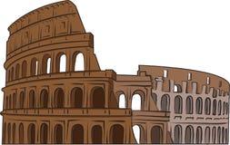 Colosseum-Farbvektorfarbe auf weißem Hintergrund Stock Abbildung