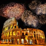 Colosseum with fireworks royalty free stock photography