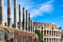 Colosseum, Flavian Amphitheatre visto do fórum imagem de stock royalty free