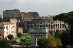Colosseum and Forum in Rome, Italy Stock Images