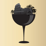 Colosseum on glass. Wine glass design colosseum icon Royalty Free Stock Images