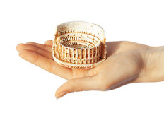 Colosseum in hand Stock Photo