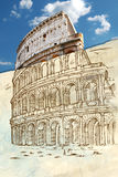 Colosseum hand draw Royalty Free Stock Photo