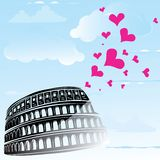 Colosseum and the heart Love Rome, Italy Royalty Free Stock Photo