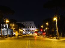 Colosseum illuminated in Rome. Royalty Free Stock Images