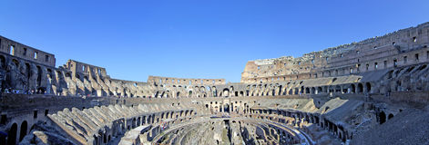 Colosseum inside panorama. Panoramic view inside the Colosseum, Rome. The Colosseum is the most visited tourist attraction in Italy Stock Images