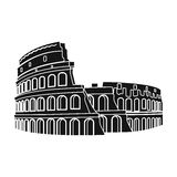Colosseum in Italy icon in black style isolated on white background. Countries symbol stock vector illustration. Stock Photography