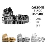 Colosseum in Italy icon in cartoon style isolated on white background. Countries symbol stock vector illustration. Colosseum in Italy icon in cartoon design Royalty Free Stock Images