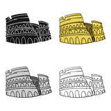Colosseum in Italy icon in cartoon style isolated on white background. Italy country symbol stock vector illustration. Royalty Free Stock Photography