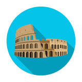 Colosseum in Italy icon in flat style isolated on white background. Countries symbol stock vector illustration. Royalty Free Stock Images