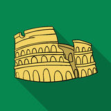 Colosseum in Italy icon in flat style isolated on white background. Italy country symbol stock vector illustration. Stock Photo