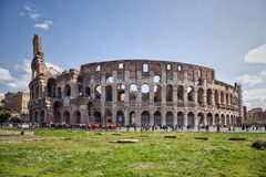 The Colosseum is landmark of Rome and Italy. The Colosseum is most remarkable landmark of Rome and Italy. Colosseum is an elliptical amphitheatre in the centre Stock Photo
