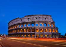 Colosseum with Light Trail, Rome Royalty Free Stock Photos