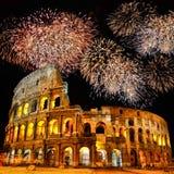 Colosseum med fyrverkerier Royaltyfri Fotografi