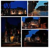 Colosseum Nachtruinen von altem Rom Ein Satz Fotos Stockbilder