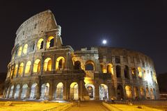 The Colosseum at night. The Colosseum, the world famous landmark in Rome Royalty Free Stock Image