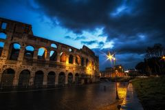 Colosseum at Night Royalty Free Stock Image