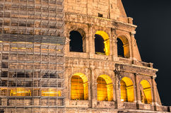 Colosseum by Night - Restoration Works Royalty Free Stock Photos