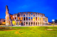 Colosseum in night, Rome, Italy. Rome, Italy. Colosseum, Coliseum or Coloseo,  Flavian Amphitheatre largest ever built symbol of ancient Roma city in Roman Royalty Free Stock Image