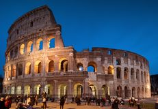 Colosseum by Night in Rome, Italy. The Colosseum or Coliseum is an oval amphitheatre in the centre of the city of Rome, Italy. Built by the Romans from Royalty Free Stock Image