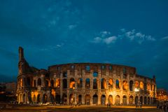 Colosseum at night in Rome, Italy Royalty Free Stock Images