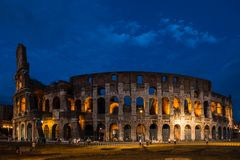 Colosseum at night in Rome, Italy Royalty Free Stock Image