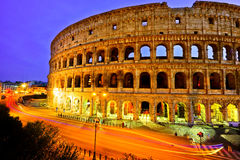 Colosseum at night in Rome. View of Colosseum at night in Rome, Italy Royalty Free Stock Images