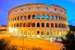 Colosseum at night in Rome. View of Colosseum at night in Rome, Italy Stock Photos