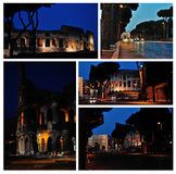 Colosseum. Night ruins of ancient Rome. A set of photos Stock Images