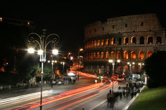 Colosseum at Night - Traffic light lines Stock Photography