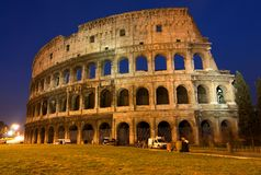 The Colosseum, Night view. The Colosseum, the world famous landmark in Rome. Night view Royalty Free Stock Photo