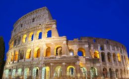 The famous Colosseum at night, Rome, Italy. The Colosseum is an oval amphitheatre in the centre of the city of Rome, Italy. Built of concrete and sand, it is Royalty Free Stock Photos