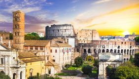 Colosseum over sunset stock image