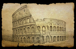 Colosseum painted by ink Stock Image