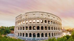 Colosseum panorama przy zmierzchu czasem Obrazy Stock