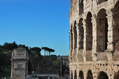 Colosseum, Pillars and ancient Temples in the Roman Forum stock images