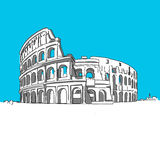 Colosseum Rom. Hand-drawn vector drawing, blue series Stock Photo