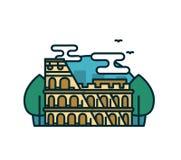 Colosseum a Roma, alberi Vettore moderno Fotografie Stock Libere da Diritti