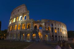 The Colosseum or Roman Coliseum at dusk, originally the Flavian Amphitheatre, an elliptical amphitheatre in the centre of the city Royalty Free Stock Photography
