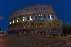 The Colosseum or Roman Coliseum at dusk, originally the Flavian Amphitheatre, an elliptical amphitheatre in the centre of the city Royalty Free Stock Images