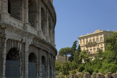 The Colosseum or Roman Coliseum, originally the Flavian Amphitheatre, an elliptical amphitheatre in the centre of the city of Rome Royalty Free Stock Photography