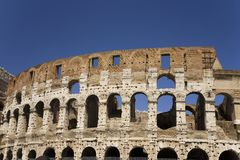 The Colosseum or Roman Coliseum, originally the Flavian Amphitheatre, an elliptical amphitheatre in the centre of the city of Rome Stock Image